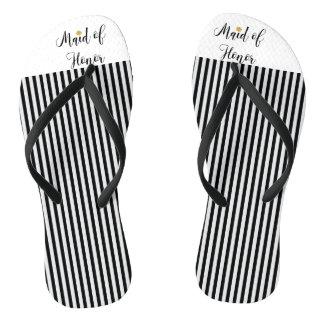Maid of Honor black stripes gold flower Flip Flops