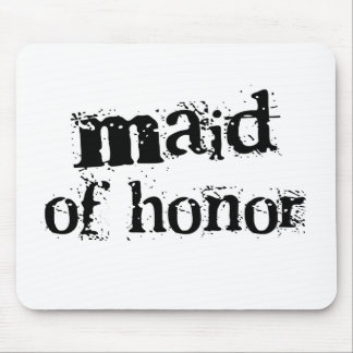 Maid of Honor Black Text Mouse Pad