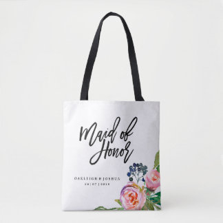 Maid of Honor Bohemian Floral Wedding Tote Bag