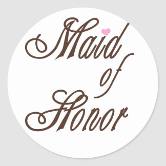 Maid of Honor Classy Browns Classic Round Sticker