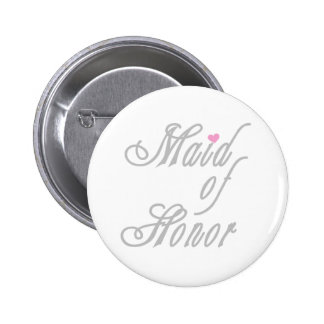 Maid of Honor Classy Grays 6 Cm Round Badge