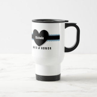 MAID of HONOR Custom Name Scallop Ribbon D7 Stainless Steel Travel Mug