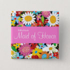 MAID OF HONOR Cute Spring Flowers Wedding Name Tag 15 Cm Square Badge