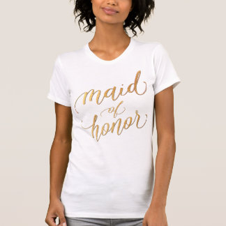 Maid of Honor/Faux Gold/Modern Brush Script T-Shirt