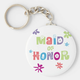 Maid of Honor Favors Basic Round Button Key Ring