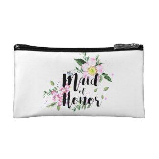 Maid of Honor Floral Watercolor Wedding Makeup Bags