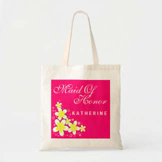 Maid of Honor Frangipani Floral Budget Tote Bag
