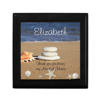Maid of Honor Gift Box, Beach, Shells, Sand Dollar Small Square Gift Box