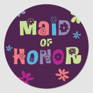 Maid of Honor Gifts and Favors Classic Round Sticker