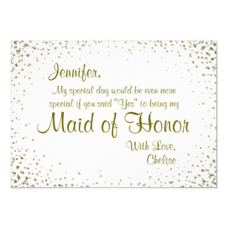 Maid of Honor | Gold Confetti Card