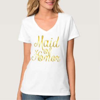Maid of Honor, Gold Cursive T-Shirt