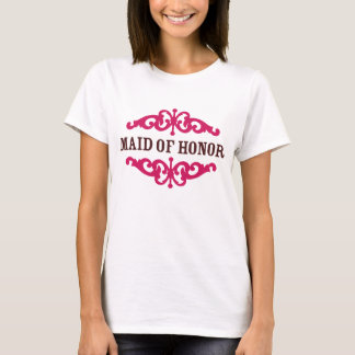 Maid of Honor (Hot Pink & Chocolate Brown) T-Shirt