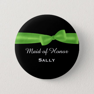 MAID OF HONOR Lime Green Bow Wedding Custom V04 6 Cm Round Badge