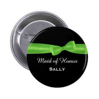 MAID OF HONOR Lime Green Bow Wedding Custom V04 Pinback Buttons