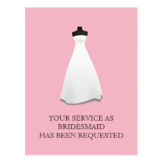 Maid of Honor or Bridesmaid Postcard Invite