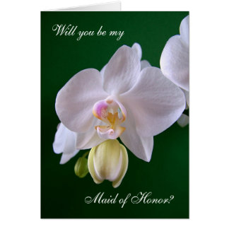 Maid of Honor. Orchid flower Card