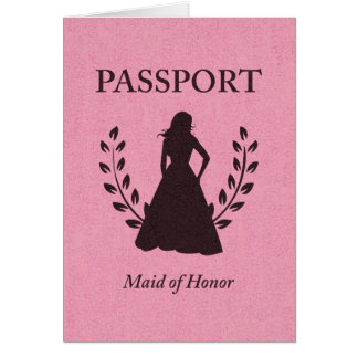 Maid of Honor Passport Note Card