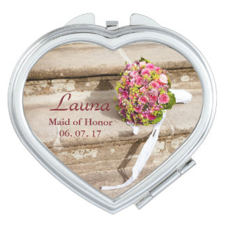 Maid of Honor Personalize Floral Bouquet Travel Mirror