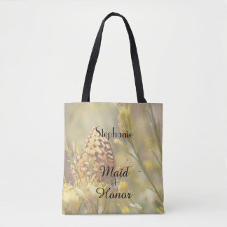 Maid of Honor Personalized Tote, Yellow Butterfly Tote Bag