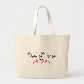 Maid Of Honor Pink and Black Hearts Large Tote Bag