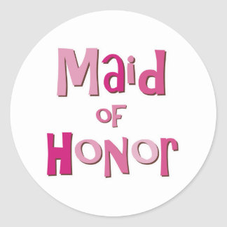 Maid of Honor Pink Brown Classic Round Sticker