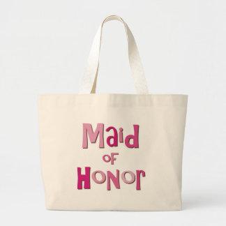Maid of Honor Pink Brown Large Tote Bag