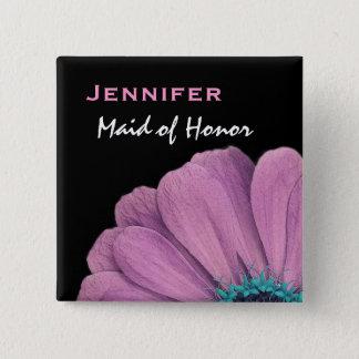 Maid of Honor Pink Daisy Custom Name Wedding 15 Cm Square Badge