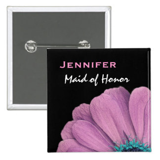 Maid of Honor Pink Daisy Custom Name Wedding 15 Cm Square Badge