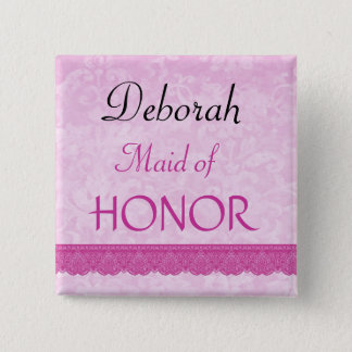 Maid of Honor Pink Lace Wedding Pin