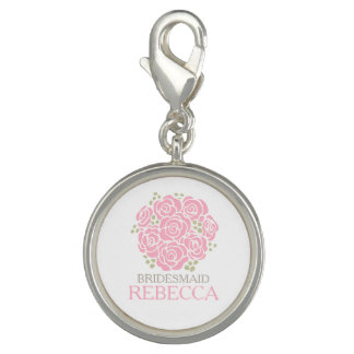 Maid of honor pink posy named wedding favor charm