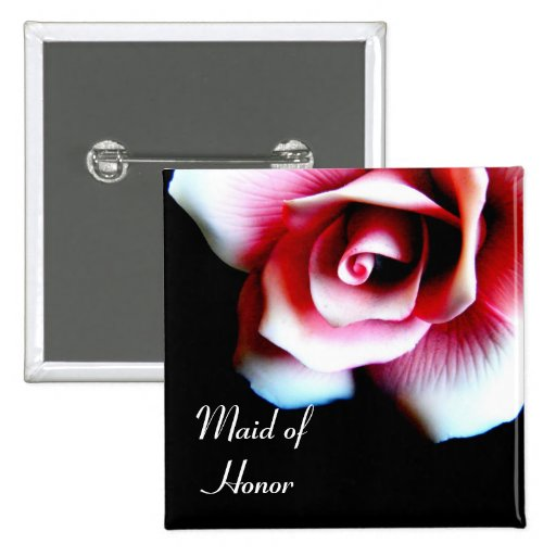 Maid of Honor Pink Rose I.D. Button