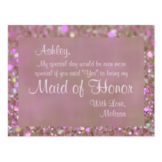 Maid of Honor - Pretty Pink Postcard