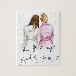 Maid of Honor? Puzzle Br lomg Bride Dk Bl Bun MOH