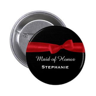 MAID OF HONOR Red Bow Wedding Custom Name V02 Pins