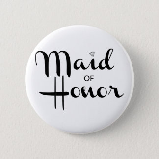 Maid of Honor Retro Script 6 Cm Round Badge