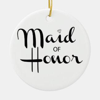 Maid of Honor Retro Script Christmas Ornament
