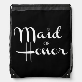 Maid of Honor Retro Script Drawstring Bag
