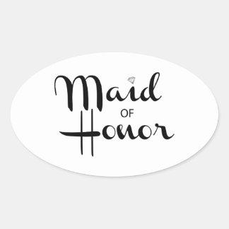 Maid of Honor Retro Script Oval Sticker