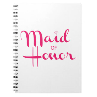 Maid of Honor Retro Script Pink Note Books