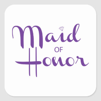 Maid of Honor Retro Script Square Sticker