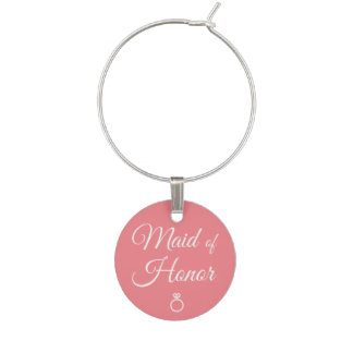 Maid of honor ring wine charm