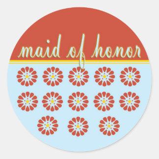 Maid of Honor Round Sticker