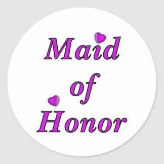 Maid of Honor Simply Love Classic Round Sticker
