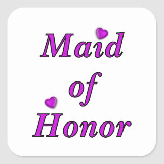 Maid of Honor Simply Love Square Sticker