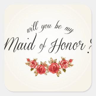 Maid of Honor Square Sticker