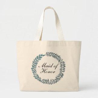Maid of Honor Steel Blue Vine | Watercolor Wreath Jumbo Tote Bag