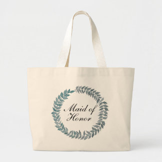 Maid of Honor Steel Blue Vine | Watercolor Wreath Large Tote Bag