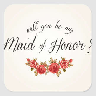 Maid of Honor Square Stickers