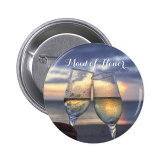 Maid Of Honor Sunset On The Beach Wedding Buttons