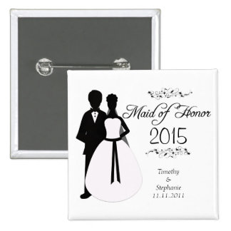 Maid of honor swirls wedding favor pinback button